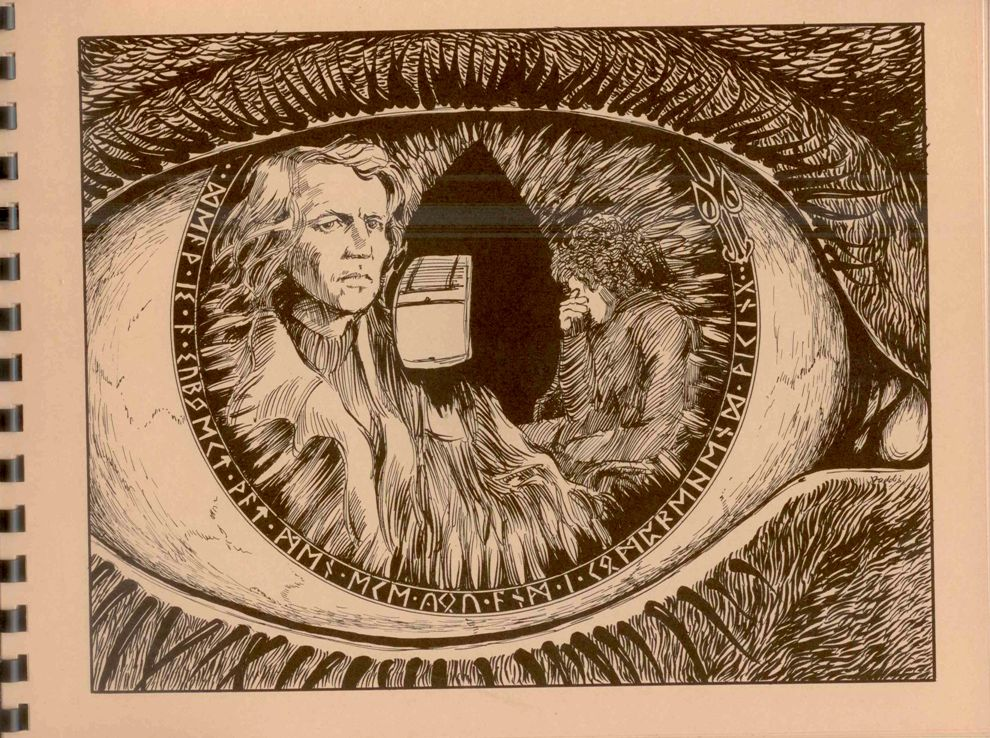 Inkwork image from Scales of Jutice of Hutch in a feathered cape and Starsky with his hand covering his face. Both of them are inside a giant eye whose iris edge has a row of runes ending in a dragon's head.