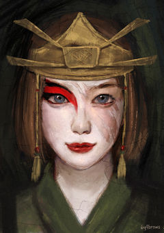 A realistic portrait of Suki in her Kyoshi Warrior garb and makeup. On the right side of her face, the makeup has been wiped away as if cleaned through a painting restoration, revealing her bare skin underneath.